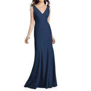 Dessy Collection Crepe Trumpet Gown Midnight Blue